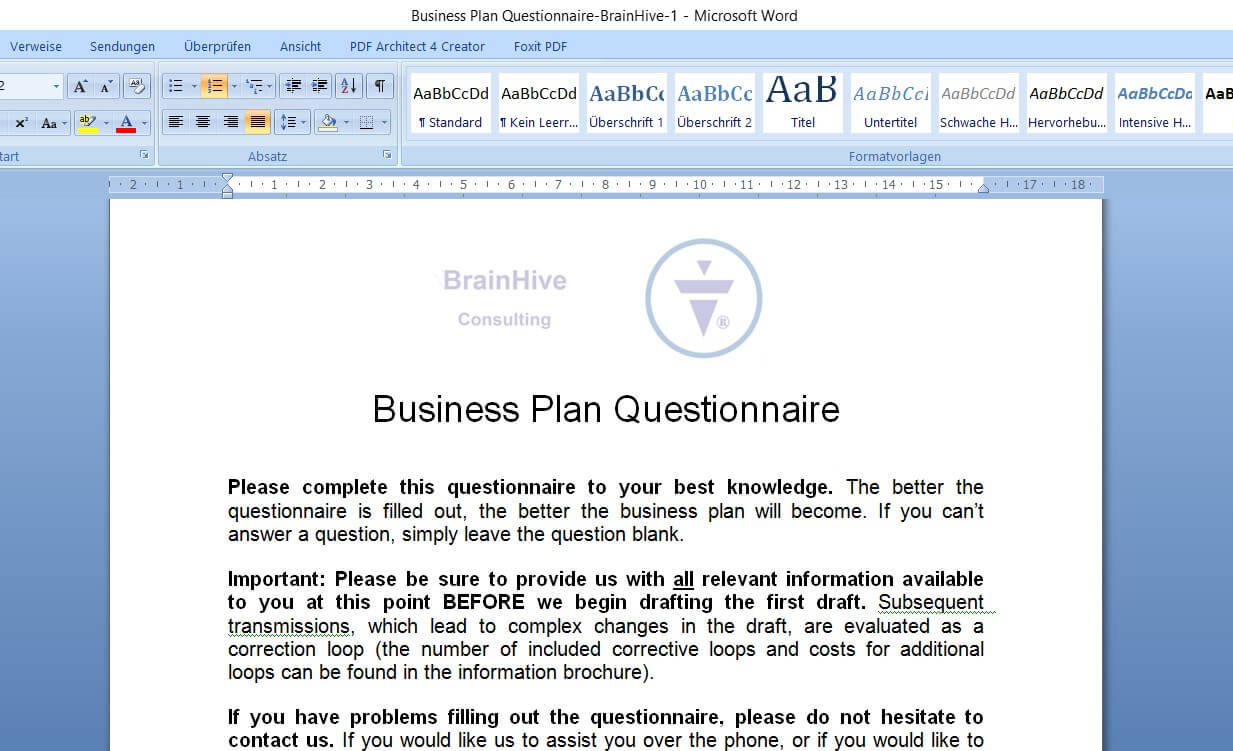 blog business planning business plan contents the questionnaire